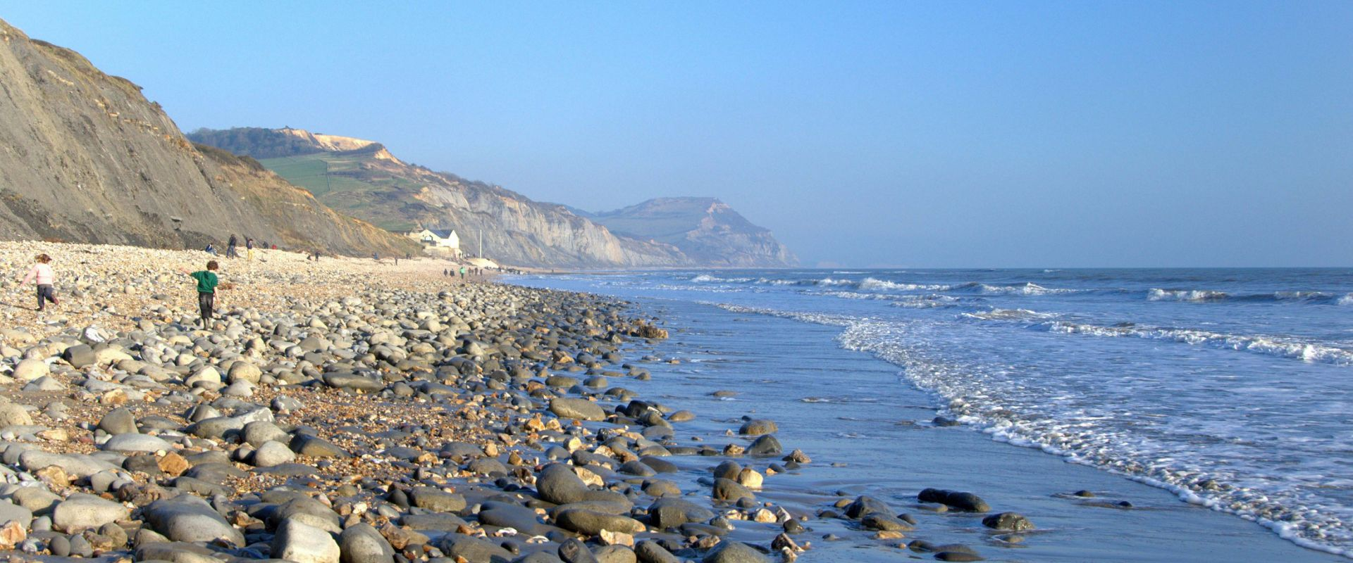 The view along Charmouth Beach in Dorset