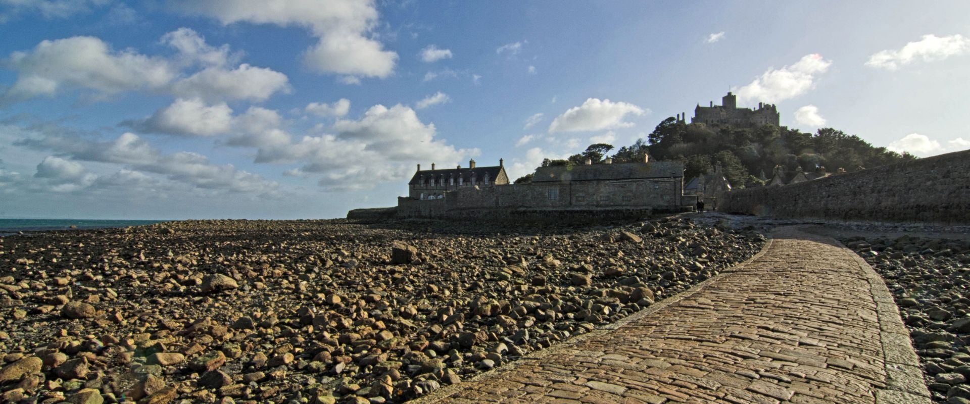 The tidal causeway leading to St. Michael's Mount in Cornwall