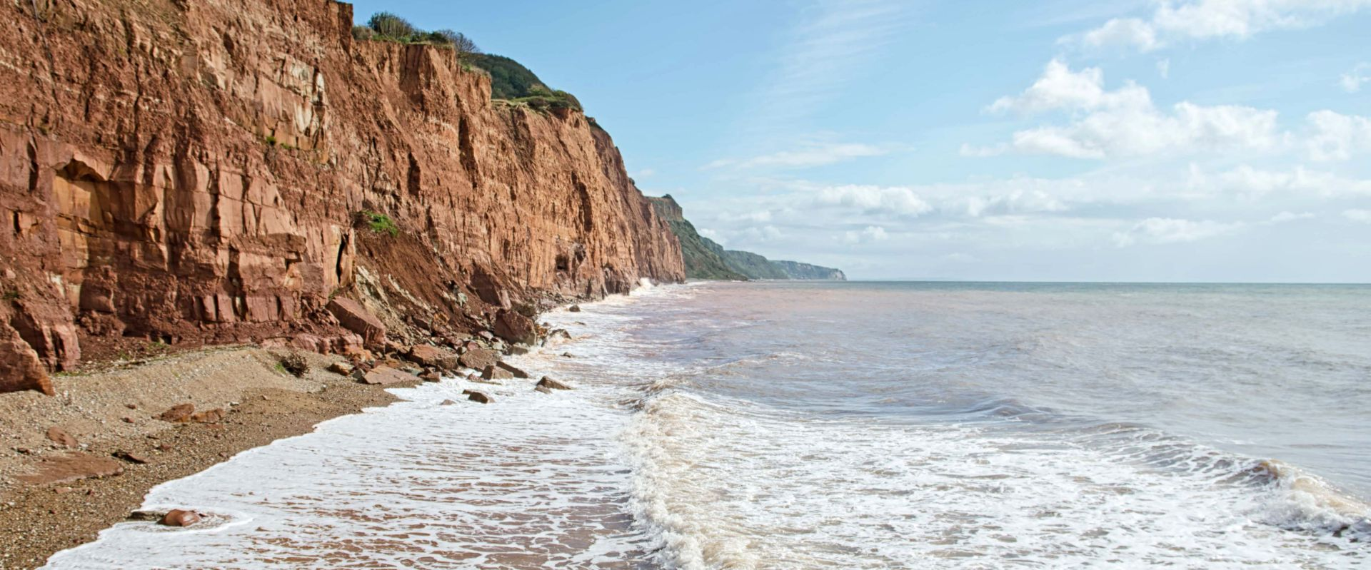 The red sandstone cliffs at Sidmouth