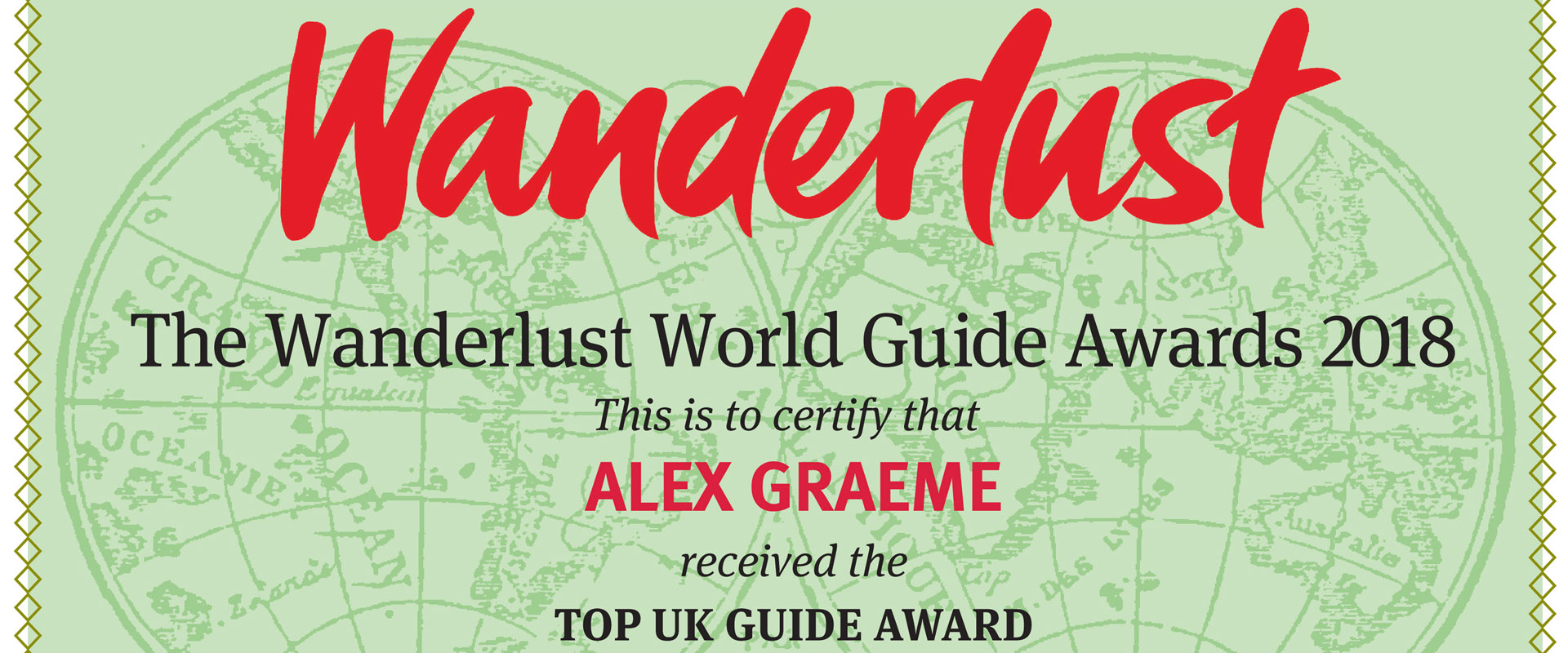 Top UK Guide at the Wanderlust World Guide of the Year Awards 2018