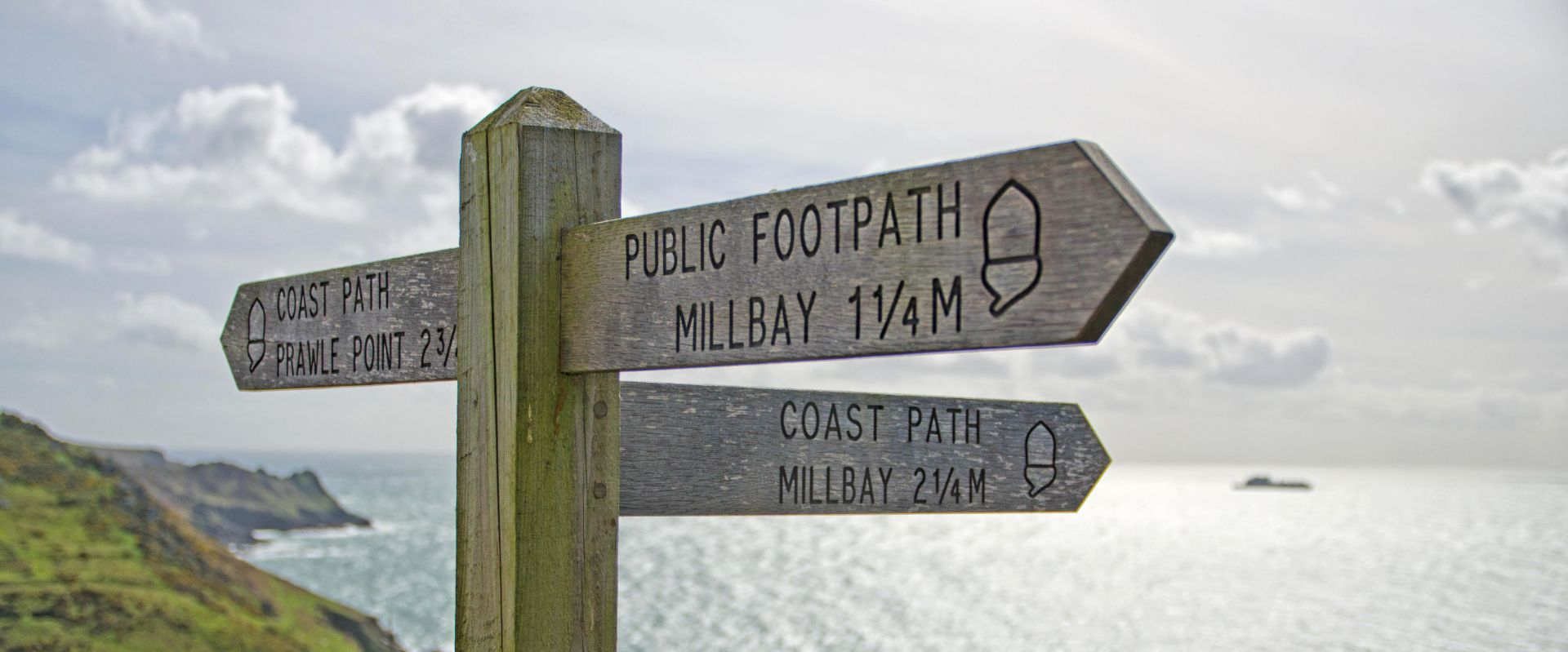 Signpost on the South Devon coast