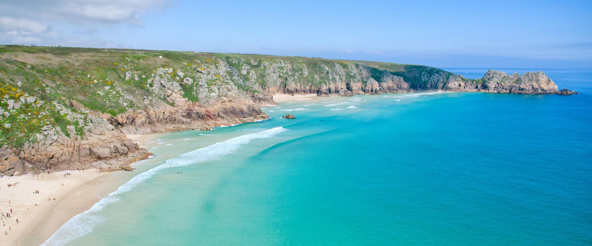 The view of Porthcurno Beach from the Minack Theatre