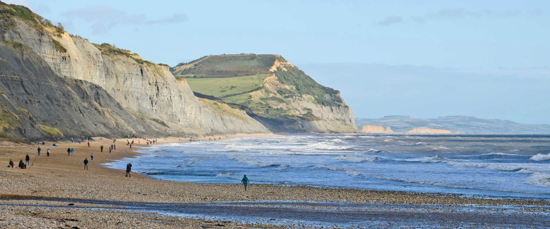 View along the beach at Charmouth on the Jurassic Coast