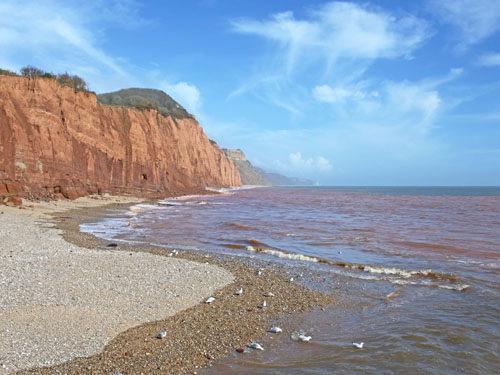 Looking along the coast at Sidmouth