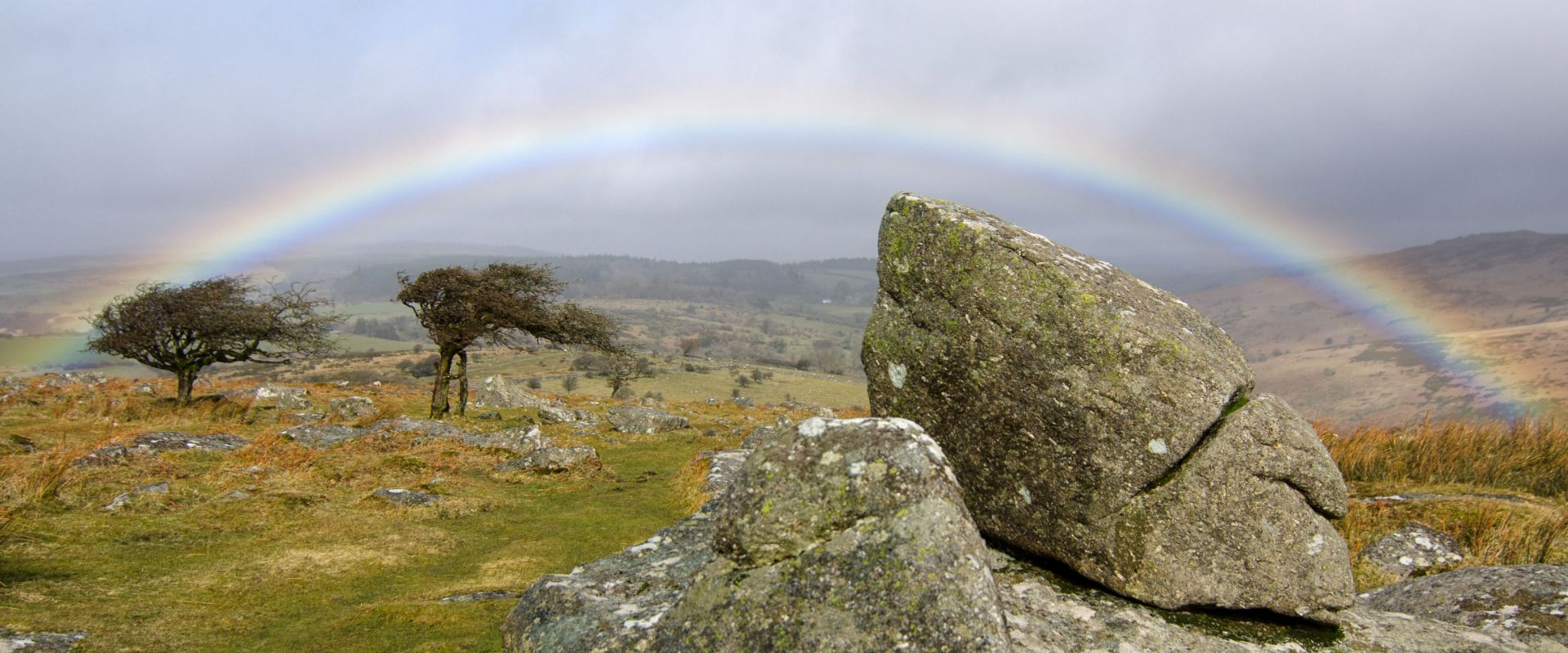 Rainbow on Dartmoor National Park, near Combestone Tor