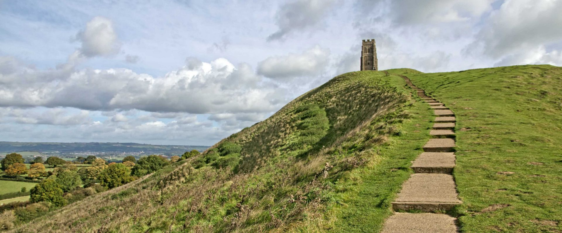 The footpath leading to the top of Glastonbury Tor