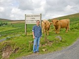 Guest with Highland Cattle on Dartmoor