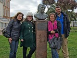Journalists at the Agatha Christie Bust, Torquay